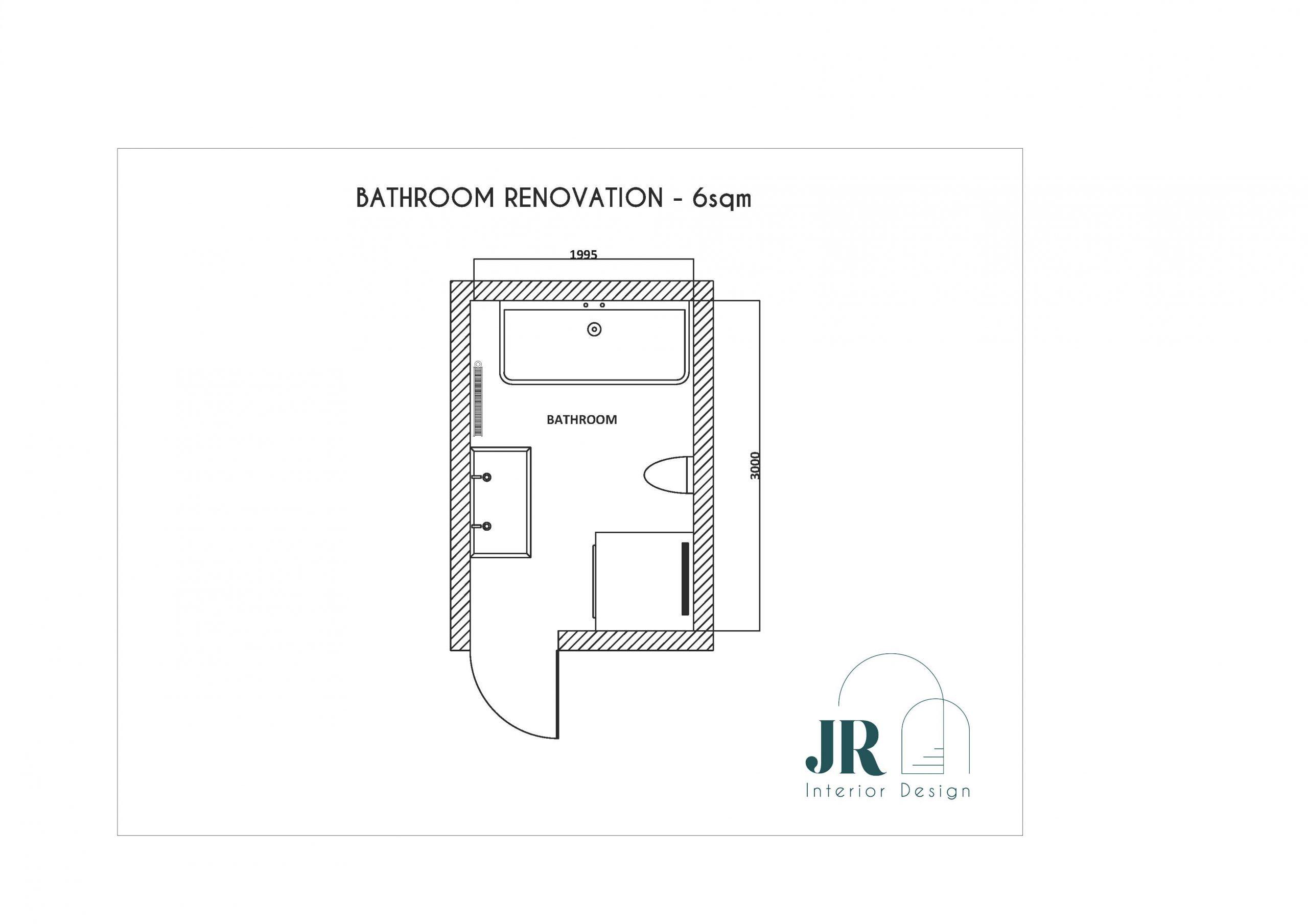 plan 2D de la salle de bain